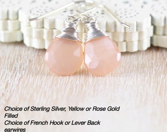 Peach Moonstone Dainty Drop Earrings in Sterling Silver, 18Kt Gold or Rose Gold Filled. Wire Wrapped AAA Gemstone Dangle Earrings for Women