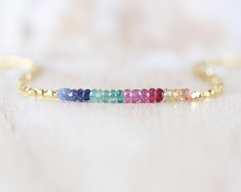 Emerald, Ruby, Sapphire, Gold Filled & Vermeil Necklace. Multi Color Gemstone Choker. Dainty Delicate Tiny Beaded Layering Jewelry for Women