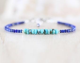 Arizona Sleeping Beauty Turquoise & Lapis Lazuli Bracelet. Sterling Silver, Rose, Gold Filled. Dainty Gemstone Stacking Bracelet for Women