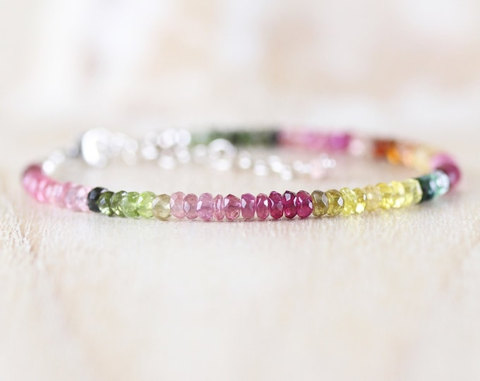 Featured listing image: Watermelon Tourmaline Beaded Bracelet in Sterling Silver, Gold or Rose Gold Filled. Multi Color Gemstone Dainty Stacking Bracelet for Women