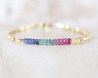 Sapphire, Ruby, Emerald, Gold Filled & Vermeil Bracelet. Multi Color Gemstone Dainty Stacking Bracelet. Delicate Beaded Jewelry for Women