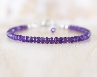 Amethyst Dainty Beaded Bracelet. Sterling Silver, Rose, Gold Filled. Deep Dark Purple Gemstone Stacking Bracelet. Delicate Jewelry for Women