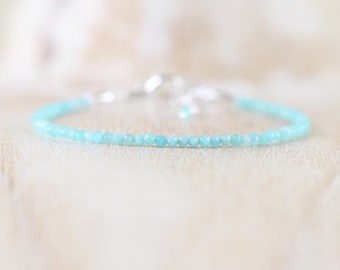 Amazonite Dainty Bracelet. Sterling Silver, Rose, Gold Filled. Slim Thin Tiny Beaded Stacking Bracelet for Women. Delicate Gemstone Jewelry