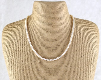 Natural Freshwater Pearl Necklace in Sterling Silver, Gold or Rose Gold Filled, Custom Length Dainty Beaded Choker, Long Layering Necklace