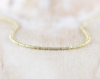Czech Charlotte Seed Bead & 18Kt Gold Filled Necklace. Dainty Tiny Beaded Choker. Long Delicate Layering Necklace. Simple Jewelry for Women