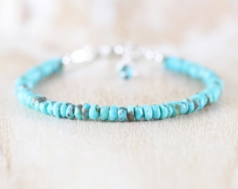 Arizona Sleeping Beauty Turquoise Bracelet in Sterling Silver, Gold or Rose Gold Filled. Dainty Beaded Gemstone Stacking Bracelet for Women