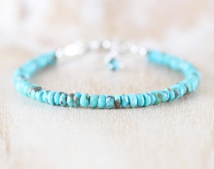 Featured listing image: Sleeping Beauty Turquoise Beaded Bracelet. Sterling Silver, Rose, Gold Filled. Genuine Arizona Turquoise Dainty Stacking Bracelet for Women