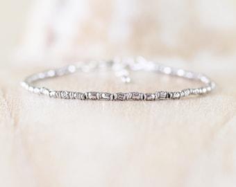 Sterling & Fine Silver Dainty Bracelet. Karen Hill Tribe Silver Oxidised Imprint Bamboo Bead Bracelet. Delicate Stacking Bracelet for Women