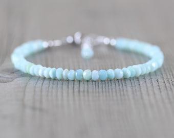 Peruvian Sky Blue Opal Dainty Bracelet. Sterling Silver, Rose, Gold Filled. Slim Thin Stacking Bracelet. Delicate Gemstone Jewelry for Women