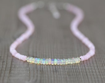 Ethiopian Welo & Pink Opal Necklace in Sterling Silver, Gold or Rose Gold Filled. Dainty Gemstone Choker. Long Layering Necklace for Women