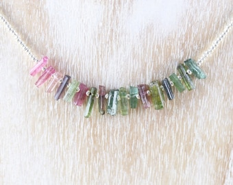 Raw Watermelon Tourmaline & Sterling Silver Necklace. Dainty Seed Bead Choker. Rough Gemstone Layering Necklace for Women. Delicate Jewelry