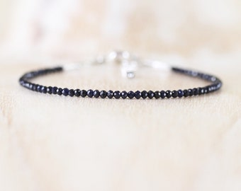 Sapphire Dainty Bracelet in Sterling Silver, Gold or Rose Gold Filled. Tiny Beaded Stacking Bracelet. Delicate Gemstone Jewelry for Women