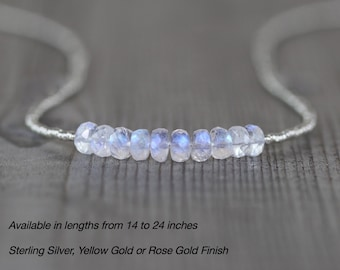 Rainbow Moonstone, Seed Bead & Sterling Silver Necklace. Blue Flash Gemstone Tiny Beaded Choker. Dainty Delicate Layering Jewelry for Women
