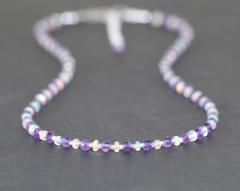Amethyst & Ethiopian Welo Opal Necklace in Sterling Silver, Gold or Rose Filled. Dainty Gemstone Choker. Delicate Beaded Jewelry for Women