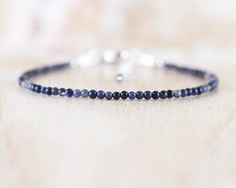 Delicate Sodalite Beaded Bracelet. Sterling Silver, Rose, Gold Filled. Dainty Blue Gemstone Jewelry for Women. Slim Skinny Stacking Bracelet