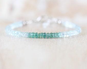 Emerald & Aquamarine Dainty Bracelet. Sterling Silver, Rose, Gold Filled. Delicate Ombre Gemstone Rondelle Bracelet. Boho Jewelry for Women