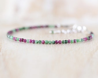 Ruby Zoisite Dainty Bracelet in Sterling Silver, Gold or Rose Gold Filled. Delicate Gemstone Stack Bracelet. Tiny Beaded Jewelry for Women