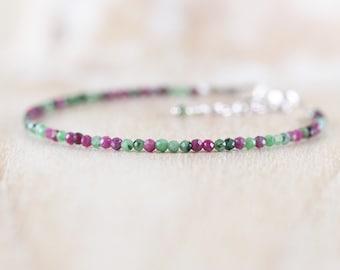 Ruby Zoisite Dainty Bracelet. Sterling Silver, Rose, Gold Filled. Tiny Beaded Gemstone Jewelry for Women. Slim Thin Skinny Stacking Bracelet
