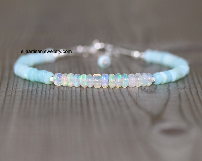 Featured listing image: Ethiopian Welo & Peruvian Blue Opal Bracelet. Sterling Silver, Rose, Gold Filled. Dainty Gemstone Stacking Bracelet. Boho Jewelry for Women