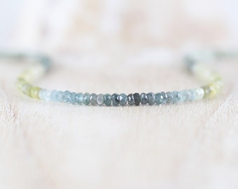 Moss Aquamarine Beaded Necklace in Sterling Silver, Gold or Rose Gold Filled. Dainty Ombre Gemstone Choker. Delicate Boho Layering Jewelry