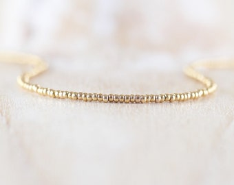 Miyuki Seed Bead & 18Kt Gold Filled Necklace. Dainty Tiny Beaded Choker. Long Delicate Layering Necklace. Minimalist Jewelry for Women Girls