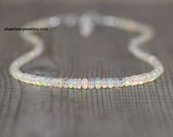 Ethiopian Welo Opal Necklace. Sterling Silver, Rose, Gold Filled. Dainty Rondelle Beaded Choker. Long Delicate Layering Necklace for Women