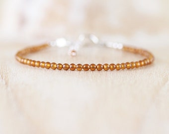 Hessonite Garnet Dainty Bracelet. Sterling Silver, Rose, Gold Filled. Slim Skinny Stacking Bracelet. Delicate AAA Gemstone Jewelry for Women