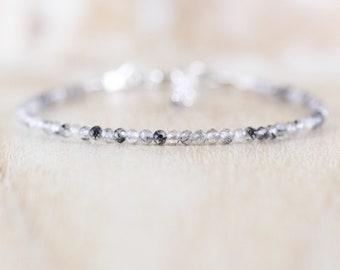 Black Rutilated Quartz Dainty Bracelet. Sterling Silver, Rose, Gold Filled. Tiny Beaded Gemstone Jewelry for Women. Slim Stacking Bracelet