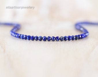 Lapis Lazuli Beaded Necklace in Sterling Silver, Gold or Rose Gold Filled, Dainty Blue Gemstone Choker, Long Layering Necklace for Women