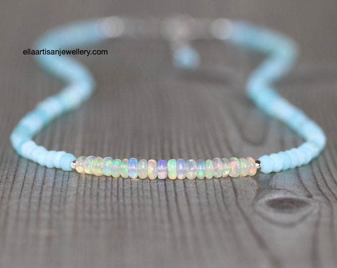 Featured listing image: Ethiopian Welo & Peruvian Blue Opal Necklace in Sterling Silver, Gold or Rose Gold Filled. Dainty Beaded Choker. Long Necklace for Women