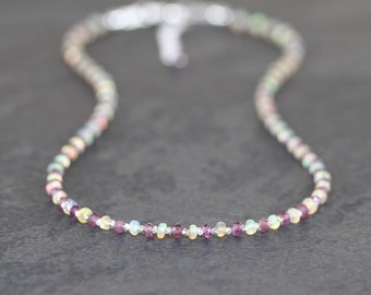 Garnet & Ethiopian Welo Opal Necklace. Sterling Silver, Rose, Gold Filled. Dainty Gemstone Choker. Long Delicate Layering Necklace for Women
