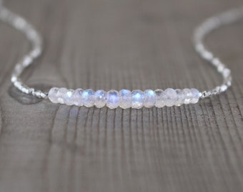 Rainbow Moonstone, Sterling & Fine Silver Necklace. Blue Flash Gemstone Choker. Dainty Delicate Layering Jewelry For Women. Karen Hill Tribe