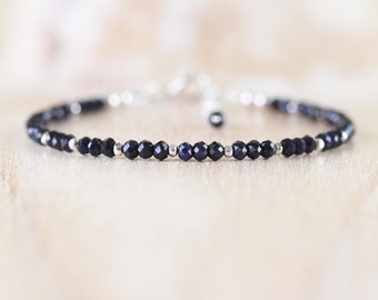 Natural Sapphire Dainty Bracelet. Sterling Silver, Rose, Gold Filled. Slim Blue Gemstone Stacking Bracelet for Women. Delicate Bead Jewelry