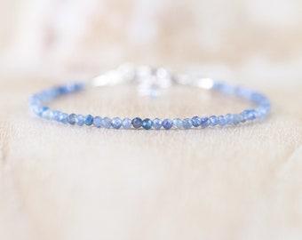 Natural Kyanite Dainty Bracelet. Sterling Silver, Rose, Gold Filled. Tiny Blue Gemstone Slim Stacking Bracelet for Women. Delicate Jewelry