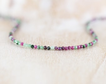 Ruby Zoisite Delicate Beaded Necklace. Sterling Silver, Rose, Gold Filled. Dainty Tiny AAA Gemstone Choker. Long Layering Necklace for Women