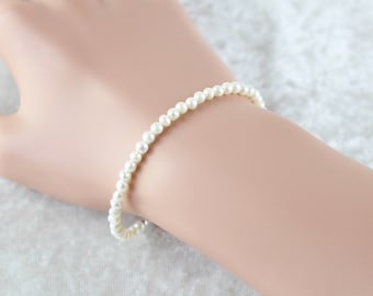 Freshwater Seed Pearl Dainty Bracelet. Sterling Silver, Rose, Gold Filled. White Ivory Tiny Round Pearl Bracelet. Simple Jewelry for Women