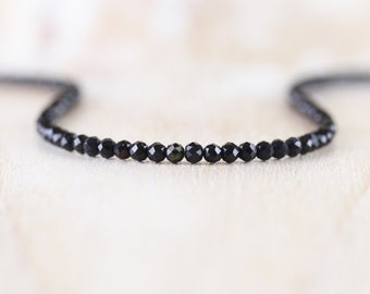 Black Tourmaline Beaded Necklace in Sterling Silver, Gold or Rose Gold Filled. Dainty Gemstone Choker. Long Boho Layering Necklace for Women