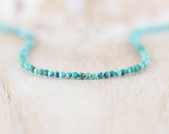Tibetan Turquoise Delicate Beaded Necklace in Sterling Silver, Gold or Rose Gold Filled, Dainty Gemstone Choker, Long Boho Layering Necklace