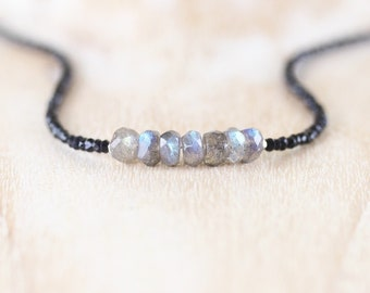 Labradorite & Black Spinel Necklace. Sterling Silver, Rose, Gold Filled. Dainty Tiny Blue Flash Gemstone Choker. Delicate Jewelry for Women