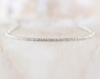Czech Charlotte Seed Bead & Sterling Silver Necklace. Dainty Tiny Beaded Choker. Long Delicate Layering Necklace for Women. Girls Jewelry