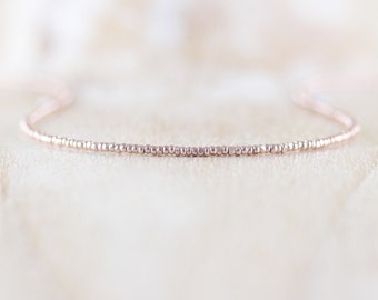 Delicate Rose Gold Beaded Necklace. Dainty Tiny Czech Charlotte Seed Bead & Rose Gold Filled Choker. Long Simple Layering Necklace for Women