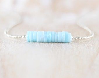 Peruvian Blue Opal, Seed Bead & Sterling Silver Necklace. Dainty Gemstone Heishi Bead Choker. Long Delicate Layering Necklace for Women