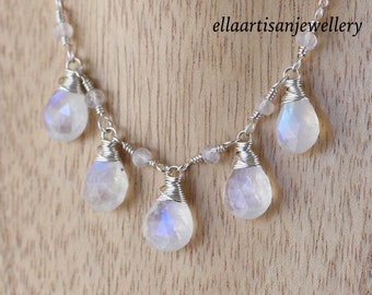 Rainbow Moonstone & Sterling Silver Bib Necklace. AAAA Blue Flash Gemstone Necklace for Women. Wire Wrapped Artisan Jewelry. Gift for Her