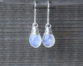 Rainbow Moonstone & Sterling Silver Earrings. 12mm Flashy Blue Gemstone Faceted Pear Drops Wire Wrapped on Hand Forged French Hook Ear Wires