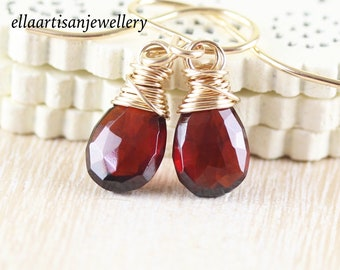 Mozambique Garnet & 14Kt Gold Filled Drop Earrings, AAA Dainty Red Gemstone Wire Wrapped Dangle Earrings, Jewelry for Women, Gift for Her