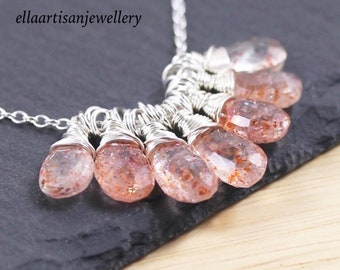 Sunstone & Sterling Silver Cluster Necklace. Natural Raw Gemstone Jewelry. Wire Wrapped Healing Crystal Pendant. Boho Jewellery for Women