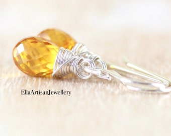 Yellow Sapphire Dainty Drop Earrings in Sterling Silver, Gold or Rose Gold Filled. Wire Wrapped Gemstone Small Dangle Earrings for Women