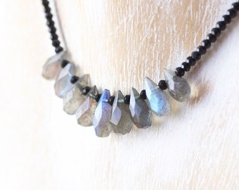 Labradorite & Black Spinel Bib Necklace in Sterling Silver, Gold or Rose Gold Filled. Blue Flash Gemstone Choker. Boho Jewelry for Women