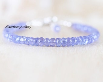 Tanzanite Beaded Bracelet in Sterling Silver, Gold or Rose Gold Filled, AAA Gemstone Stacking Bracelet, 4 to 4,5mm Faceted Rondelle Beads