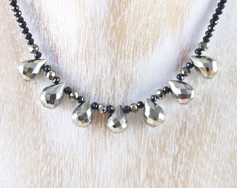 Pyrite & Black Spinel Beaded Bib Necklace in Sterling Silver, Gold or Rose Gold Filled. AAA Dainty Gemstone Necklace. Boho Jewelry for Women